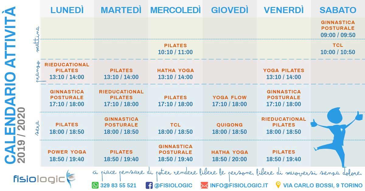 calendario corsi fisio logic 2019-20120